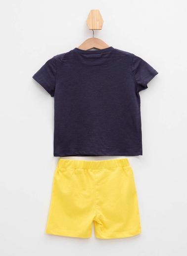 DeFacto Erkek Bebek Baskılı T-shirt Şort Set Lacivert